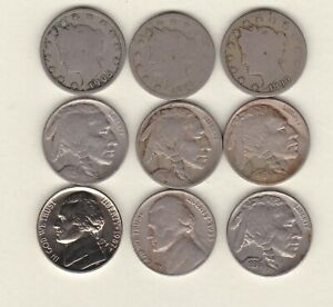 9 x USA FIVE CENTS COINS 1890 TO 1987P IN A USED CONDITION.