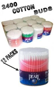 2400 PCS (200 PCS X 12) COTTON BUDS EAR SWABS Q TIPS ASSORTED PLASTIC STICKS