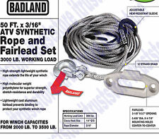 ATV UTV Winch Synthetic 50ft Rope With Clevis Hook & Fairlead Retriever Tool Kit