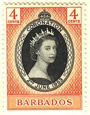 BARBADOS 1953 CORONATION  MNH