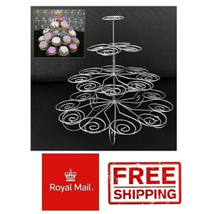 4 Tier 24 CupCake Stand Cup Cake Display Wedding Buffet Teer Party Metal Wire
