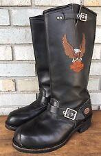 Vtg Harley Davidson Steel Toe Engineer Tall Motorcycle Black Boots Men's Sz 10