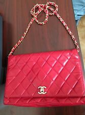 Vintage Chanel Quilted Red hand Bag Chain Strap-Authentic