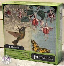#10682 Kolibri Schmetterling Blüten 6er Set Untersetzer Pimpernel Portmeirion