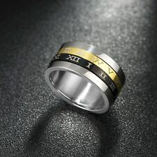 Tri Color Size 8 Roman Numeral Time Spinning Double Layers Gold Black Ring Gift
