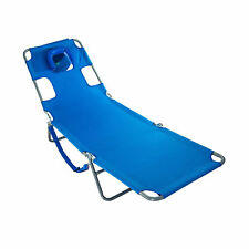 Ostrich Chaise Lounge Folding Portable Sunbathing Poolside Beach Chair, Blue