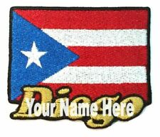 Flag of Puerto Rico Custom Iron-on Patch With Name Personalized