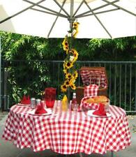 Umbrella Tablecloth 70-Inch Round Tablecloth with Umbrella Hole Red & White