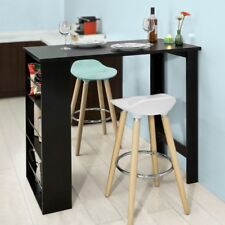 SoBuy® Kitchen Dining Coffee Bistro Bar Table With Side Rack,FWT17-SCH,Black,UK