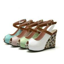 Ladies Sandals Leather Peep Toe Wedge Cross-Strap Slingback Platform Shoes New