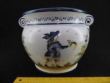 Huge Planter Bowl J Willfred Peint A La Main Portugal Quimper Style Breton Woman