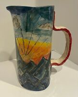"Large Studio Art Pottery Pitcher Vase Signed Sunrise in Mountains 11.25"" Tall"