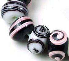 Lampwork Handmade Glass Pink Black Spiral Rondelle Beads (12)
