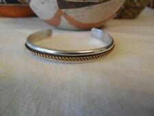 "Navajo Small 925 Sterling Silver Single GF Coil Cuff Bracelet 4-3/8"" Signed"