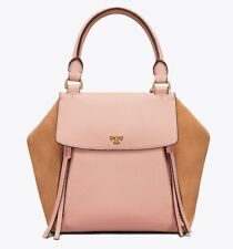 c060ec61723a Tory burch Half Moon Mixed Leather Satchel Pink Sand