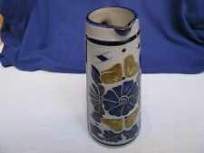 German Salt Glaze Tall Pitcher Hand Made Cobalt Blue Brown Floral Gray Stoneware