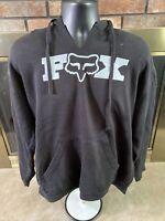 Fox Racing Black Graphic Fox Logo Hooded Hoodie Sweatshirt Mens Sz XL Motorcycle