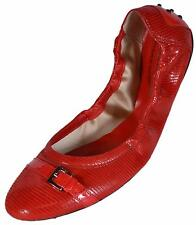 NIB Tod's Women's Red Patent Leather Dee Buckle Ballerina Ballet Shoes 41 11