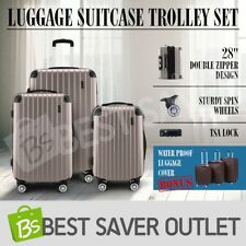 New 3x Travel Luggage Suitcase Trolley Set TSA Hard Case Lightweight-Champagne