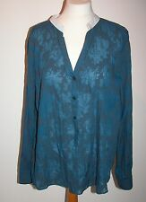 VINTAGE BLUE POLY COTTON SHEER BLOUSE WITH WHITE STAND COLLAR UK 18