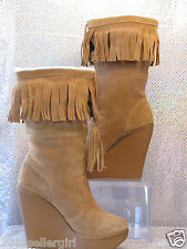 JESSICA SIMPSON TAN SUEDE LEATHER FRINGE WEDGE MIDCALF WINTER BOOTS 9.5 $199