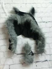 Halloween Costume Black Gray Wolf Hoodie With Ears FURRY UNISEX ONE SIZE