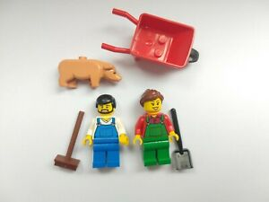 LEGO Minifigures Farmer Couple Bundle With Pig And Accessories