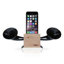 Apple iPhone+Android series Loudspeaker.Docking stand.Horn stand.Wood+Black