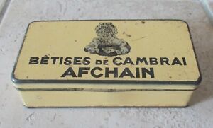 Vintage tin box collectable vtg Betises Cambrai Afchain advertising ad France #5