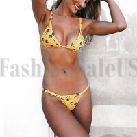 Two Pieces Women's Brazilian Yellow Floral Print Bikini Bandage Split Swimsuit