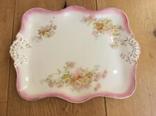 Vintage Dressing Table Tray Set Vanity Trinket Dish Pink Daisy Ceramic Porcelain