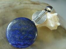 Großer 30 mm Lapis Lazuli Button Ketten Anhänger mit UFO & Edelstahl Schlaufe