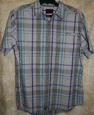 NEW Hawk Short Sleeve Button front shirt Gray Plaid 1 Pocket XL