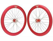 NEW RED 700c bike wheel V 60mm Alloy Wheel Set fixie bike city bicycle in 296948