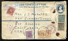 p423 - INDIA 1935 Registered Letter Cover to USA. 10c Postage Due for Customs