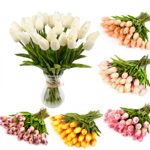 10PCS Tulip Artificial Flower Latex Bridal Wedding Bouquet Home Decor UK