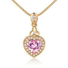 Lovely Heart Pink Diamond Gems Yellow Gold Filled Pendant Lady Women Necklace
