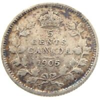 1905 Canada 5 Cents Small Silver Circulated Edward VII Five Cents Coin P421