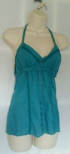 Hooch Womens Halterneck Top Size 10 Teal Low Back style New