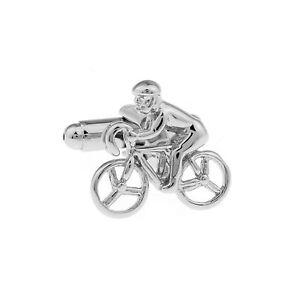 Luxury Silver Tour De France Cufflinks Cycling Sports Bike Cycle Yellow Jersey