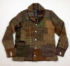 Polo Ralph Lauren Men Wood Tweed Patchwork Shawl Knit Sweater Cardigan Blazer XL