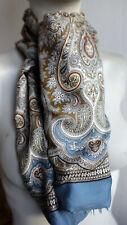 Silk & Wool Blue Silver Scarf