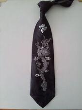 Chinese Dragon Kung Fu Classic Black Neck Tie Necktie Event Wedding Graduation