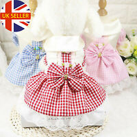 Puppy Dog Pet Plaid Bow Princess Skirt Apparel Cotton Party Costumes Dress UK