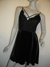 NEW + TAGS * NEW LOOK * LACE & VELVET STRAPPY BLACK  MINI DRESS SIZE 12 RRP £30