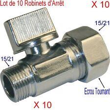 10 Robinets d'Arrêt Laiton,1/2, Droit, Mâle Femelle,15/21,Toilette,WC,Chasse Eau