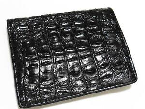 Gents Glossy Black Full CROCODILE Leather Bi-Fold Wallet, Handmade, NEW