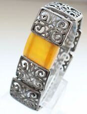 Antique Ornament Decorated Hand Bracelet With Amber Insert