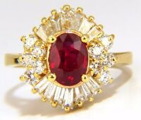 GIA 2.60CT NATURAL OVAL VIVID RED RUBY DIAMONDS COCKTAIL RING 18KT+