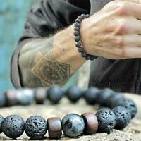 Männer Heilung Yoga Perlen Armband 8mm Lava Stein Meditation Perlen Sc X1C7 S1G5